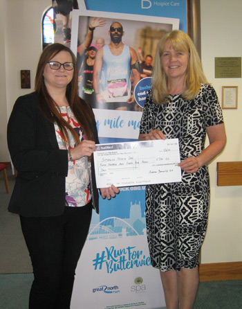 Cheque for the Butterwick Hospice
